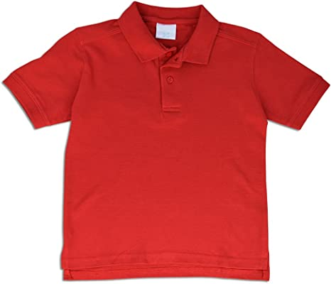 JLGUSA Short Sleeve 2 Button Uniform Polo Shirt Cotton Pique Kids 6-12 Boys