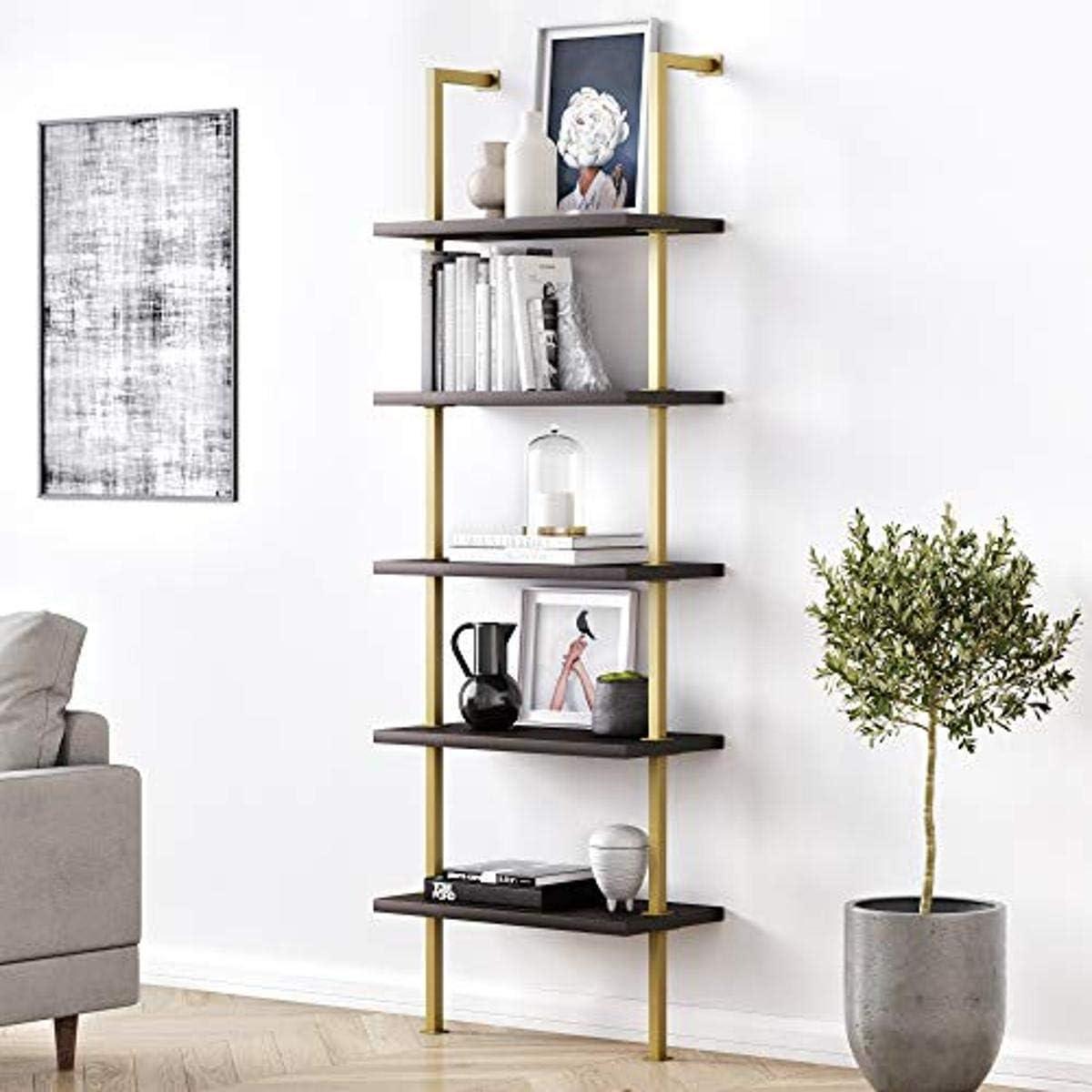 与え Nathan James Theo 出色 5-Shelf Modern Mount Open Wall Bookcase Ladde