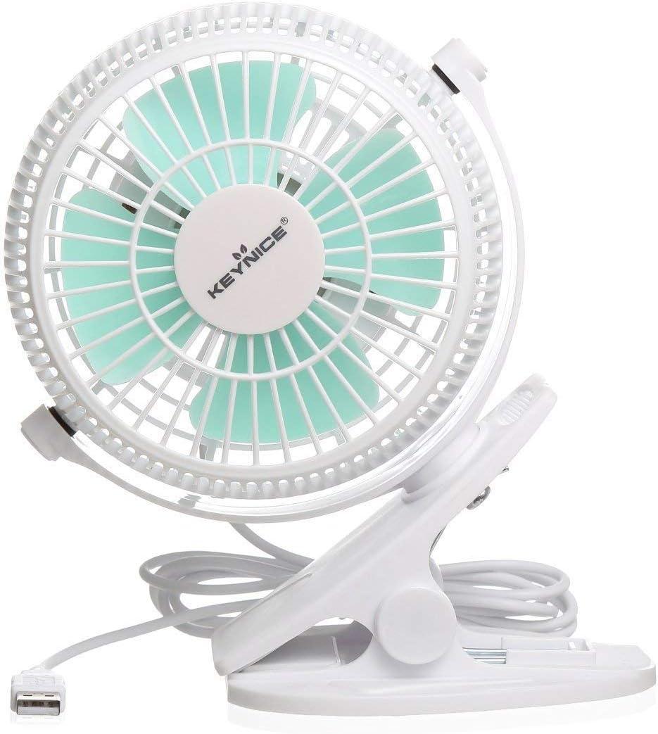 KEYNICE USB Desk Fan, 4 Inch Table Fans, Mini Clip on Fan, Portable Cooling Fan with 2 Speed, USB Powered Stroller Fan, 360° Rotate USB Fan, Personal Quiet Electric Fan for Home Office Camping- White