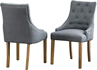 Gray Armchair Set of 2 for Dining Room Linen Fabric Upholstered Vintage Dining Chair with Oak Legs for Home Kitchen Living Room Reception Room Commercial Reataurant (Gray Armchair, Set of 2)