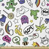 ABAKUHAUS emoticon Tela por Metro, 80. El conjunto colorido del cómic, Tela Elastizada Estampada para Costura Arte y Bricolaje, 1 Metro, Multicolor