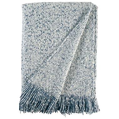 Stone & Beam Oversized Stripe Brushed Weave Throw Blanket, 60 x 80 , Indigo, White