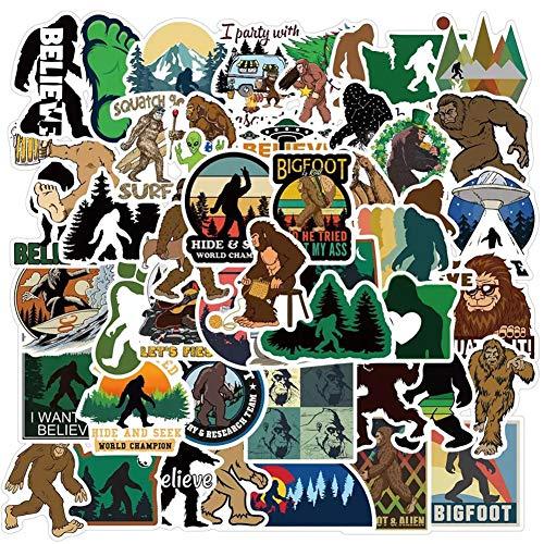 50 Pcs Bigfoot Stickers| Sasquatch Waterproof Vinyl Stickers for Water Bottles Laptop Refrigerator Luggage Computer Mobile Phone Skateboard Decals