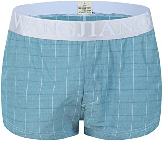 Men's Cotton Underwear Briefs Breathable Loose Elegant Plaid Underwear Home Shorts Arrow Pants