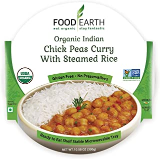 Sponsored Ad - Food Earth Organic Indian Chick Pea Curry with Steamed Rice - Ready to Eat Meals - Indian Food - Organic Mi...