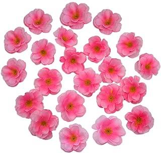 HOKPA Artificial Silk Cherry Blossom Flower Heads, Fake Fabric Sakura Floral Head decor for Bridal Hair Clips Headbands Dress DIY Accessories Wedding Party Supply Table Decorative (100pcs Pink)