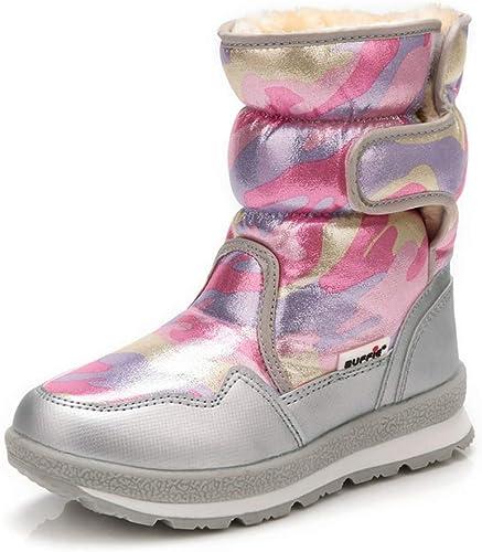 ZHRUI Bottes d'hiver pour Femmes Plus Jeunes Portant de Jolies Chaussures de Neige avec Un Tissu imperméable en Fourrure (Couleuré   rose argent, Taille   3.5=36 EU)