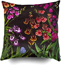 Tolumnia Equitant Oncidium Orchids Cushions Case Throw Pillow Cover for Sofa Home Decorative Pillowslip Gift Ideas Household Pillowcase Zippered Pillow Covers 18X18 Inch