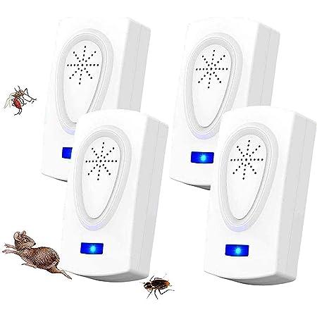 WARDBES Repellente ad Ultrasuoni,Antizanzare Repellente Insetti Ultrasuoni,Repellente Elettronico Contro Parassiti Tiene lontani Topi,Ratti,Mosche Pacchetto di 4 Scarafaggi,Ragni,Zanzare