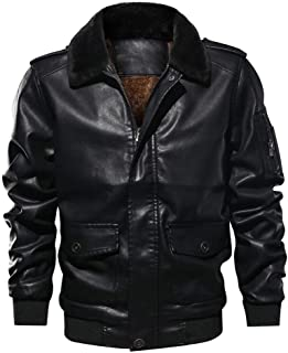 Classic actical Outwear Coat,Men's Lapel Fur Collar Leather Pocket Flying Jacket T