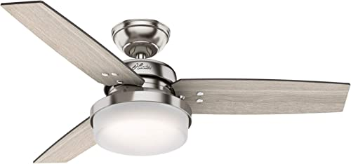 """wholesale Hunter Fan Company 50394 Sentinel Indoor Ceiling Fan with LED outlet sale Light and Remote Control, 44"""", online sale Brushed Nickel Finish sale"""