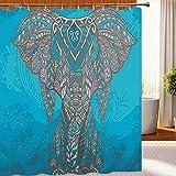 KaiXINSun Blauer Elefant Muster Badezimmer Duschvorhang Wasserdicht Mehltau Antibakterielle Polyester Bad Vorhang 180X180Cm Hauptdekoration