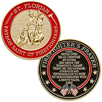 St Florian Patron Saint of Firefighters Challenge Coin with Hero s Valor Prayer 1-Pack  Single Coin