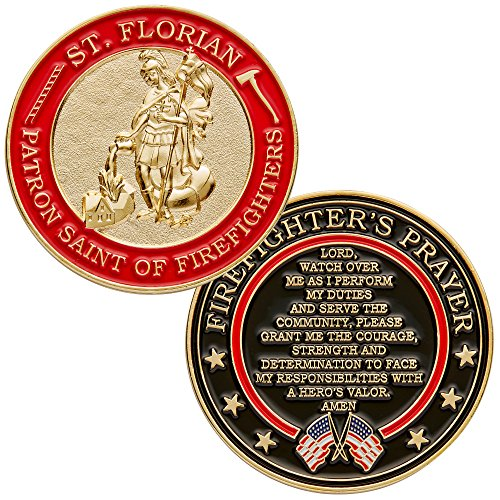St. Florian Patron Saint of Firefighters Challenge Coin with Hero's Valor Prayer 1-Pack (Single Coin)