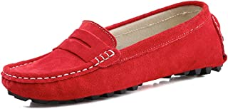 SUNROLAN Casual Women's Suede Leather Driving Moccasins Slip-On Penny Loafers Boat Shoes Flats
