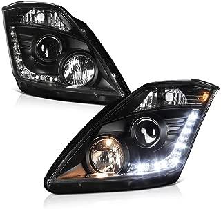 [For 2003-2005 Nissan Z33 350Z Halogen Model] LED Strip Black Projector Headlight Headlamp Assembly, Driver & Passenger Side