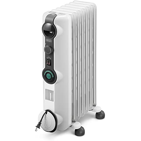 """De'Longhi Oil-Filled Radiator Space Heater Energy Saving, Safety Features, Nice for Home with Pets/Kids, 9""""w x 7""""d x 10""""h, Light Gray-Comfort Temp"""