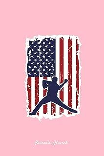 Baseball Journal: Lined Journal - Baseball USA Flag Black Baseball Player Gift - Pink Ruled Diary, Prayer, Gratitude, Writing, Travel, Notebook For Men Women - 6x9 120 pages - Ivory Paper