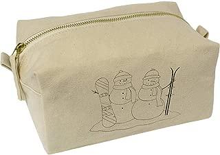'Snow Sports Snowmen' Canvas Wash Bag / Makeup Case (CS00018451)
