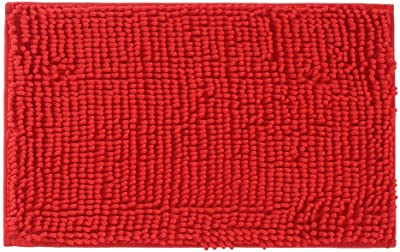 """ADASMILE A & S Christmas Bath Rug Super Soft Absorbent Non Slip Microfiber Chenille Carpet Bathroom Mats Shower Rugs for Tub Shower Textured Surface,Floor,Shower Stall,Red,17""""x27"""""""