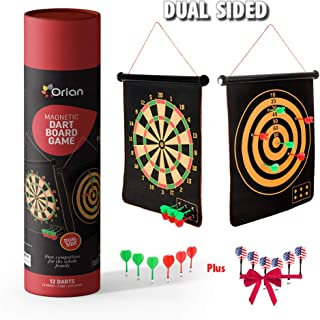 Orian Magnetic Dart Board Game for Kids with 12 Darts, Dual Sided Scoring and Play, Strong Magnets with Safety Flat Tip for Indoor Outdoor Use, Fun Competition, Great Birthday Gift for Child