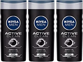 NIVEA MEN Body Wash, Active Clean with Active Charcoal Shower Gel, 250 ml (Buy 2 get 1 Free)