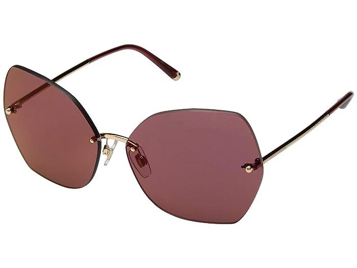 Dolce & Gabbana DG2204 (Pink Gold/Dark Violet Mirror Red) Fashion Sunglasses