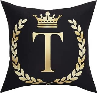 BLEUM CADE Black Pillow Cover Throw Pillow Case English Alphabet T Throw Pillow Case Modern Cushion Cover Square Pillowcase Decoration for Sofa Bed Chair Car