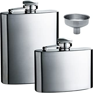 maxin Hip Flask 5oz and 8 oz with One Handy Funnel, 2 Packs Stainless Steel Leak Proof Liquor Hip Flasks with Funnel for S...