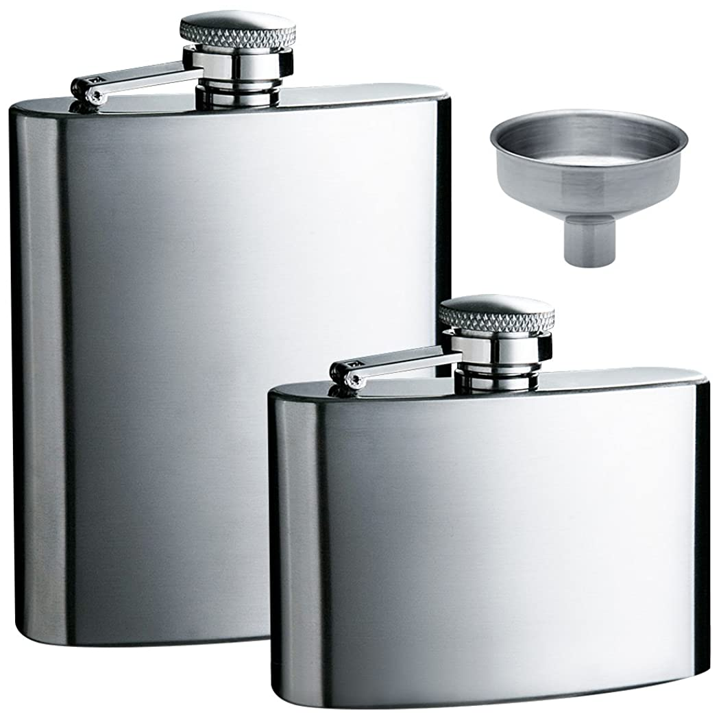 maxin Hip Flask 5oz and 8 oz with One Handy Funnel, 2 Packs Stainless Steel Leak Proof Liquor Hip Flasks with Funnel for Storing Whiskey/Alcohol.