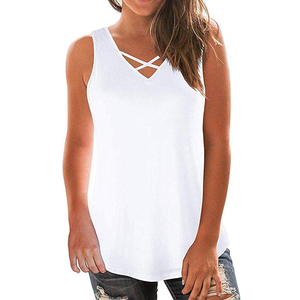 Whear Women's Summer Sleeveless Back Closure T-Shirt Cross Front Blouse V Neck Casual Tunic Tank Tops Loose Vest