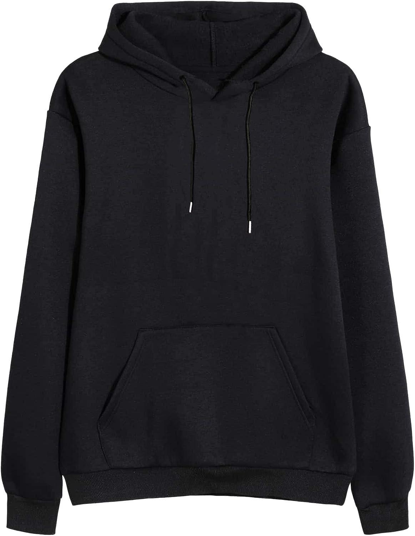 Romwe Women's Kangaroo Pocket Solid Drawstring Casual Hoodie Sweatshirt Tops