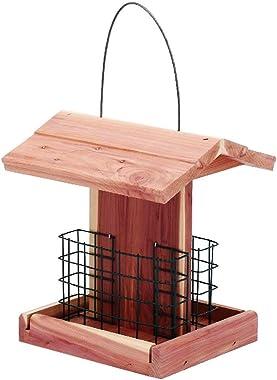 Solution4Patio Homes Garden Suet Bird Feeder USA Cedar Wood Handmade Double Suet Cake Holder for Woodpeckers, Bluebirds, Card