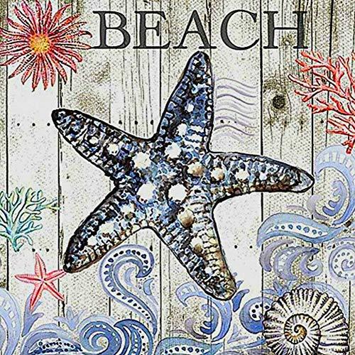 Lazodaer Pintura de diamante para bordar, pintura de pintura, arte para decoración de pared del hogar, estrella de mar, 30 x 30 cm