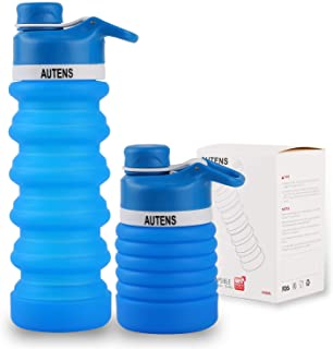 AUTENS Collapsible Water Bottle 550ml/750ml, Leak Proof, BPA Free, FDA Approved, Wide Mouth, Lightweight Food-Grade Silico...