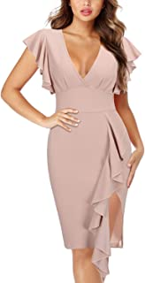 Women's Deep-V Neck Ruffle Sleeves Cocktail Party Pencil Slit Formal Dress