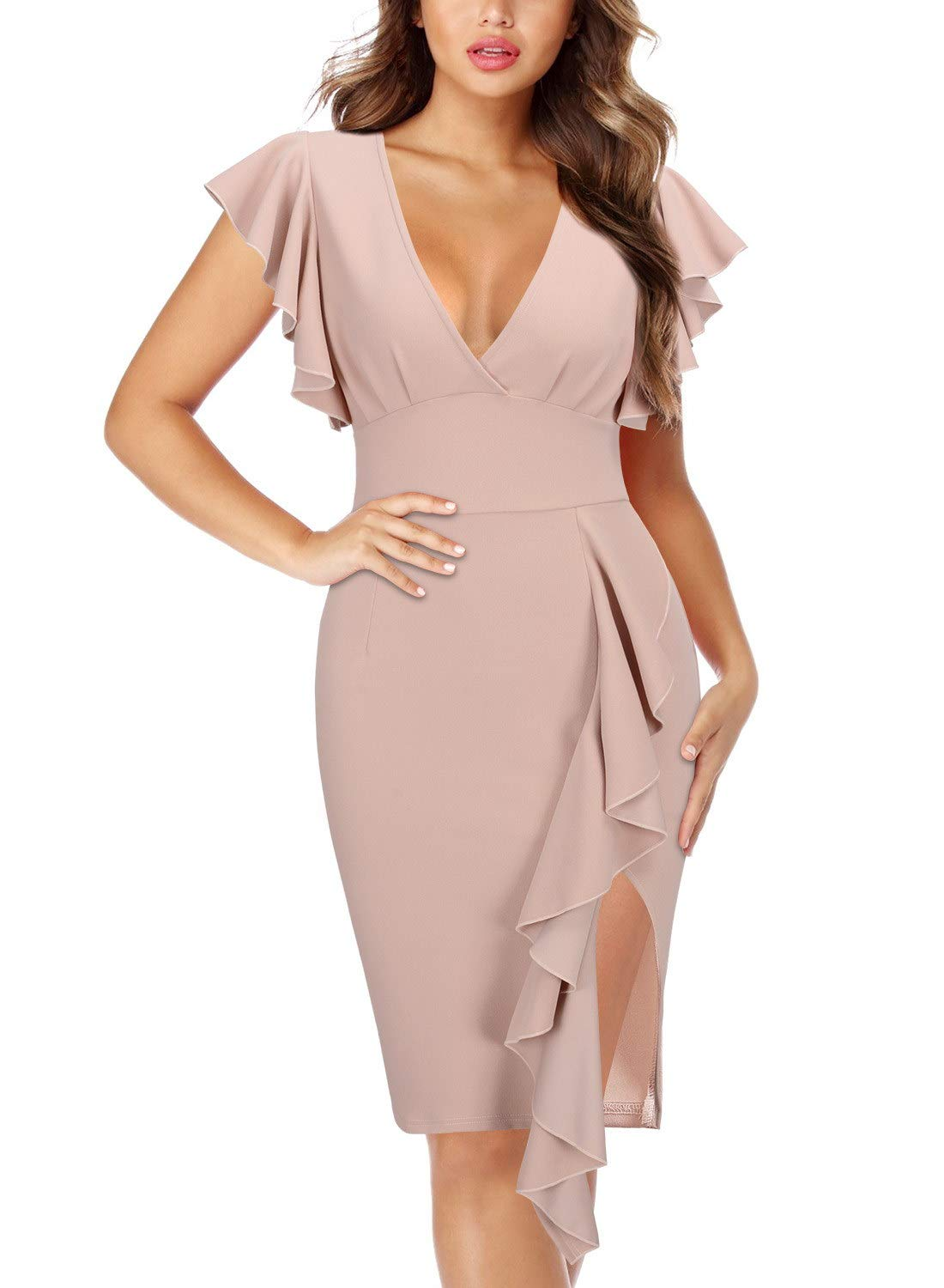 Wedding Guest Dresses - Women's Sleeveless Split Ruched Halter Party Cocktail Long Dress