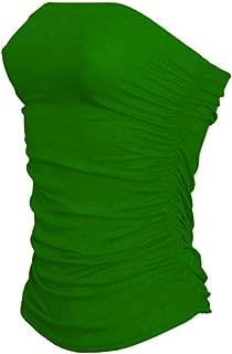 Ladies Bandeau Vest Top Sleeveless Ruched Boob Tube Womens Vest Crop Bra Top S/2Xl