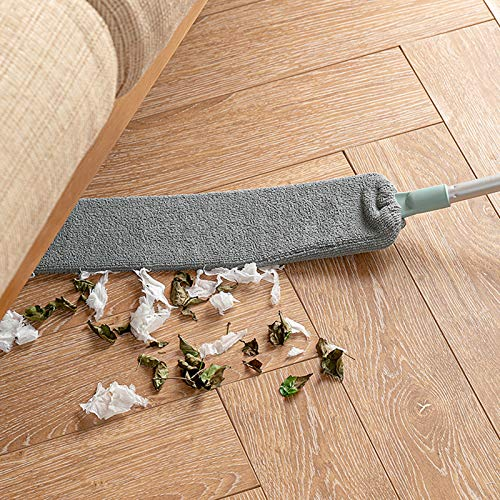 GGLL Colector de polvo con varilla telescópica, cepillo de microfibra para polvo, plegable, lavable, extensible para debajo de los muebles (con dos fundas de tela) gris