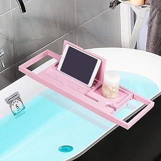 xuuyuu バスタブトレー バステーブル バスタブラック 浴室収納ラック 伸縮式 竹製 約 60-90cm お風呂用品 (ピンク)