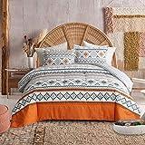 FlySheep 3 Piece Queen Bohemian Orange Comforter Set - 1 Microfiber Reversible Comforter + 2 Pillow Shams, Hotel Quality Tribal Geometric Bedding Set All Season - Boho Orange