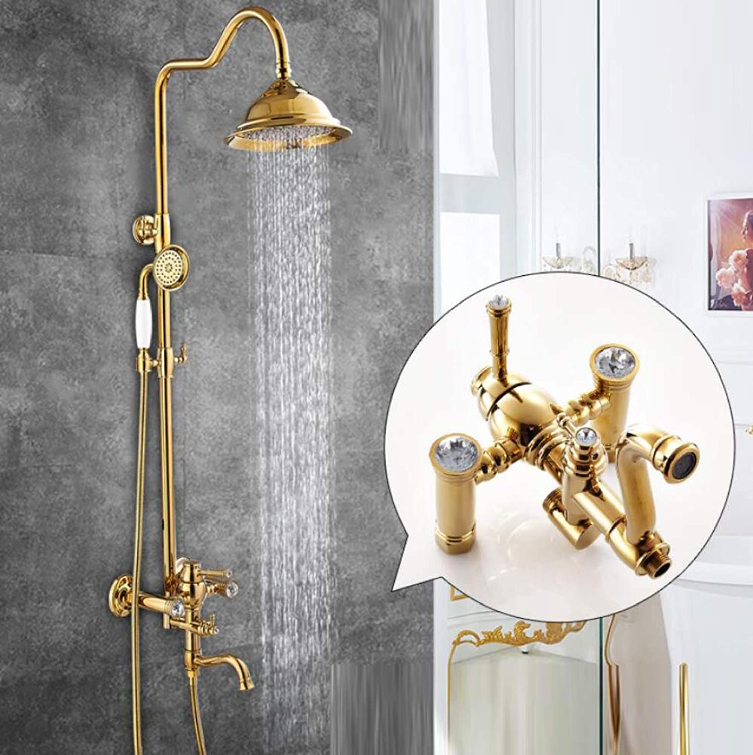 LWUDI Shower Systems With Rain Shower And Handheld, Adjustable Lifting Bronze Shower Rod Rainfall Shower Combo Set,A2