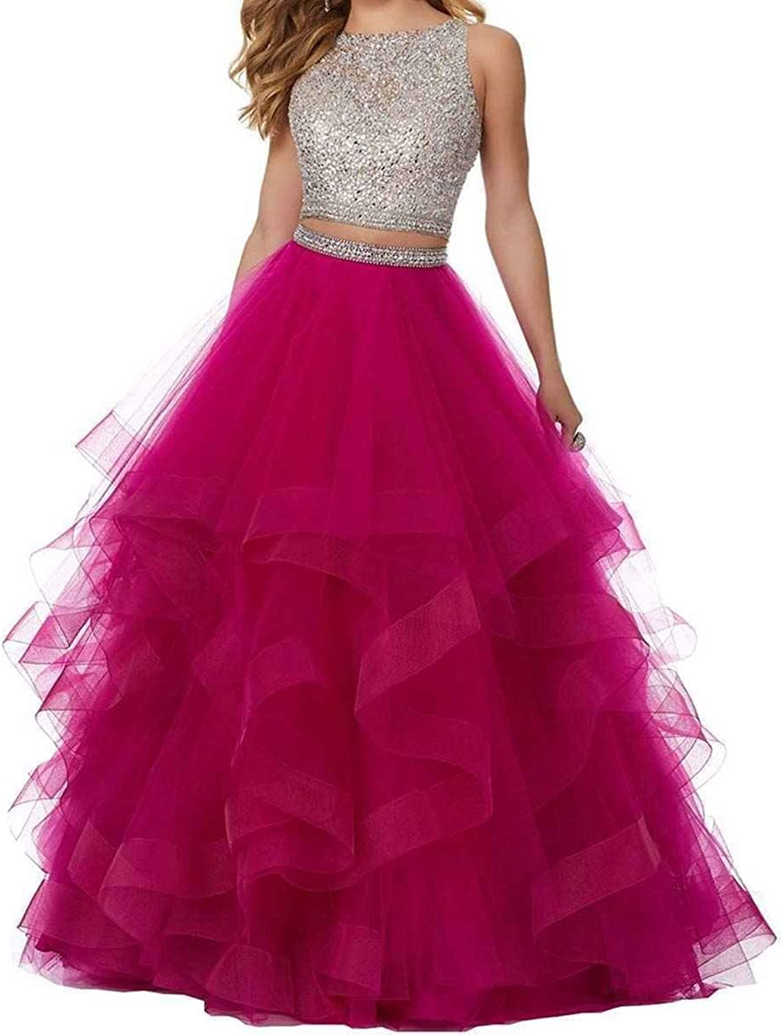 LL Bridal Women Sexy Beaded Two Pieces Prom Homecoming Dresses 2018 Long Tulle Formal Evening Ball Gowns A0020