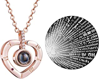 100 Languages Necklace Round Pendant Projective Necklace I Love You Symbol of Steadfast The Memory of Love Different Languages for I Love U for Women Girls