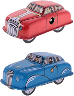 MonkeyJack Retro Collectible Police/Fire Car Clockwork Metal Tin Toy - Wind Up to Rush