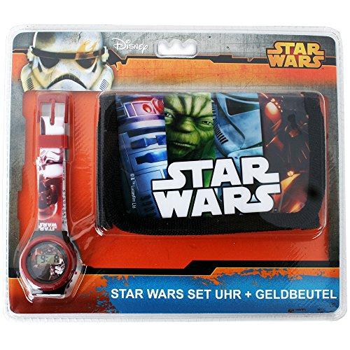 Disney Star Wars Motiv Geschenk Set Kinder Geldbörse Geldbeutel und Digitale Armbanduhr