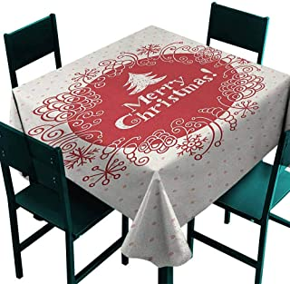 Warm Family Christmas Polyester Tablecloth Merry Christmas Greeting Design with Sketchy Tree Swirled Doodles Frame Indoor Outdoor Camping Picnic W60 x L60 White Red Coral