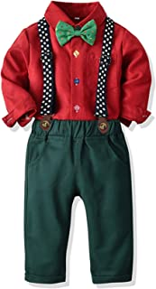 SALNIER Toddler Dress Suit Baby Boys Clothes Sets Bowtie Shirts + Suspenders Pants 3pcs Gentleman Outfits Suits 6Month - 6 Years