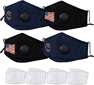 4 Pack Reusable Face Mask with 8 Pack Activated Carbon Filter,BOJO Anti-dust Mouth Cover For Men Women and Big Kid,Washable Cloth Masks Suit for Public Areas Office and Anyplace - Black & Blue