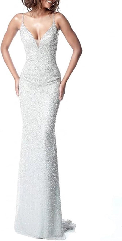 YuNuo Women's gold Sequins Mermaid V Neck Bridesmaid Dresses Plus Size Prom Dresses